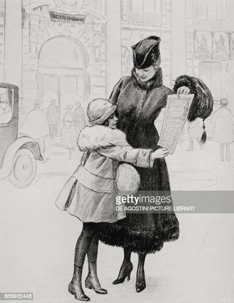 A little girl donating her savings to the national fund Italy World War I from L'Illustrazione Italiana Year XLIV No 7 February 18 1917