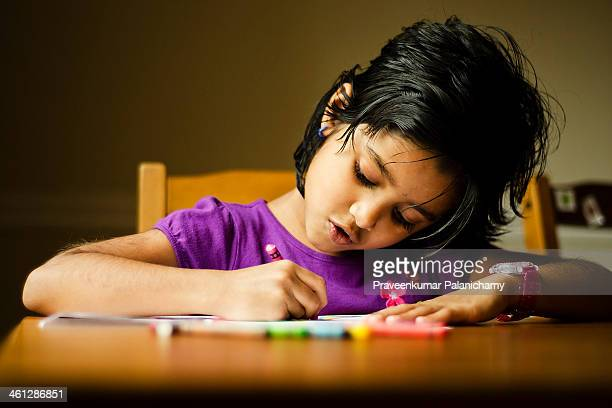 little girl drawing - art and craft stock pictures, royalty-free photos & images