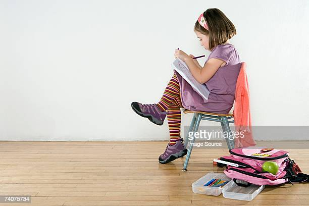 little girl drawing - pencil case stock photos and pictures