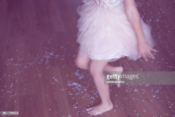 little girl dressed in pink tulle skirt - pink dress stock pictures, royalty-free photos & images