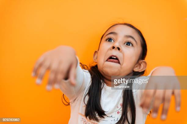 little girl facial expressions - zombie girl stock photos and pictures