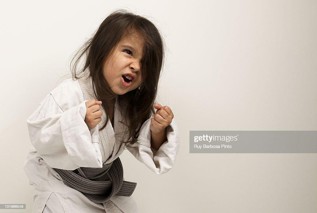 Little girl fighting judo : Stock Photo