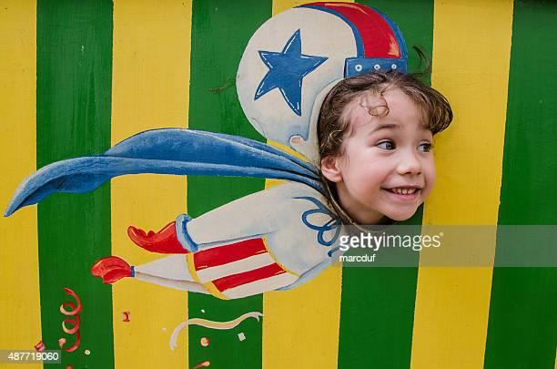 little girl flying like a cannon ball out of cannon - circus stock pictures, royalty-free photos & images