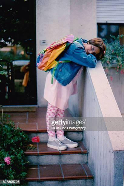 little girl going to school - 1990~1999年 ストックフォトと画像