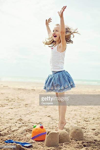Little Girl Having Fun on Beach