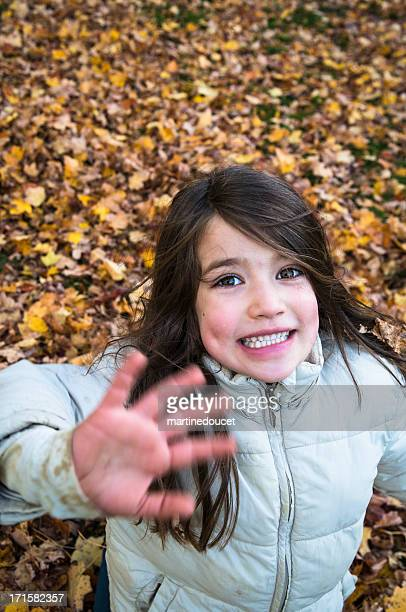 "little girl having fun playing in autumn leaves. - ""martine doucet"" or martinedoucet bildbanksfoton och bilder"