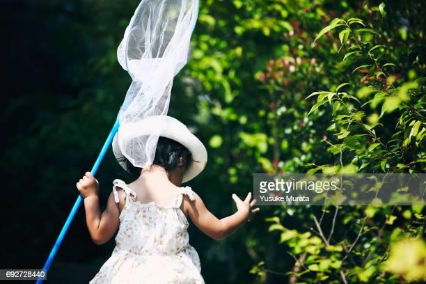 Little girl holding butterfly net