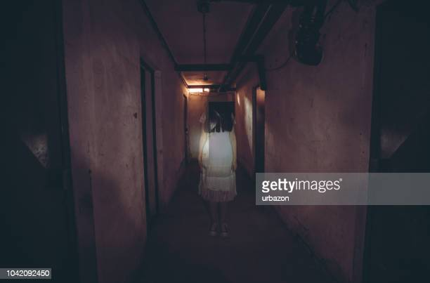 little girl horror movie - ghost stock pictures, royalty-free photos & images