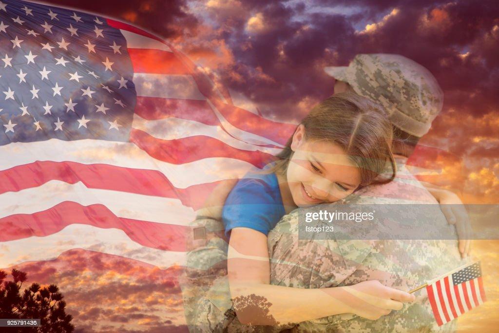 Little Girl Hugs Military Father Overlay Sunset American