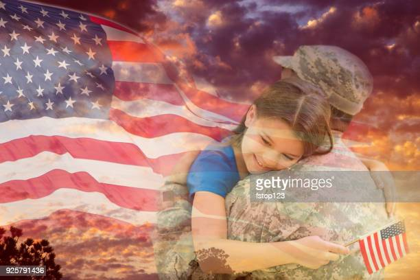 little girl hugs military father overlay sunset, american flag. - armistice day stock photos and pictures