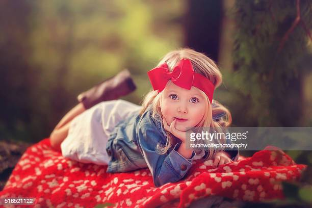 little girl in a big red bow - hair bow stock pictures, royalty-free photos & images