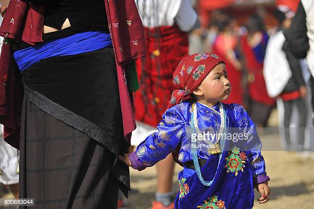 A little girl in a traditional attire participate in the celebration during the Tamu Lhosar or Losar at Kathmandu Nepal on Friday December 30 2016...