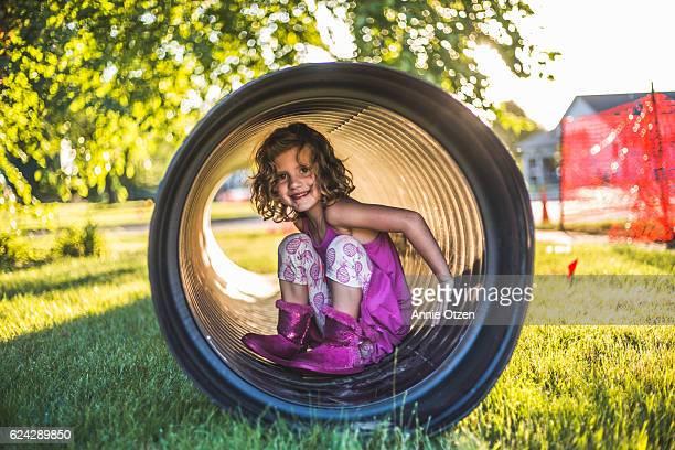 Little Girl in a Tube