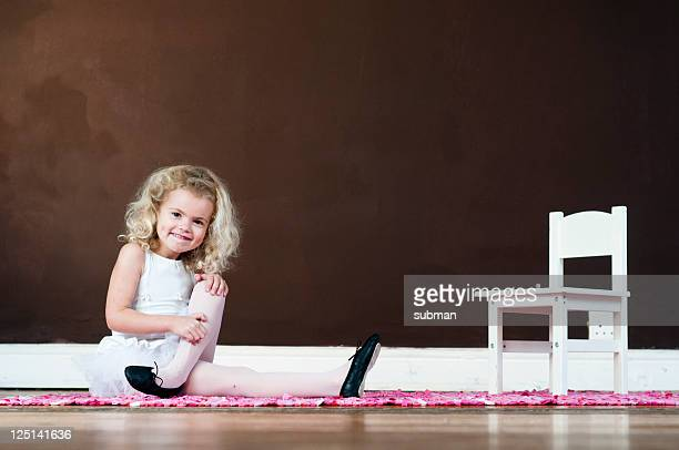 little girl in ballet suit - pump dress shoe stock pictures, royalty-free photos & images