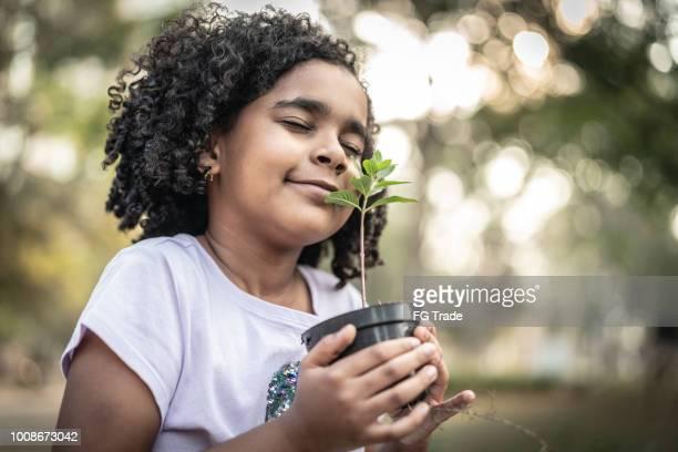 menina no jardim, cheiro de planta fresca - questão social - fotografias e filmes do acervo