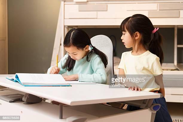 Little girl in learning