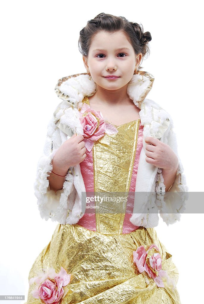 Little girl in princess costume on white background  Stock Photo  sc 1 st  Getty Images & Little Girl In Princess Costume On White Background Stock Photo ...