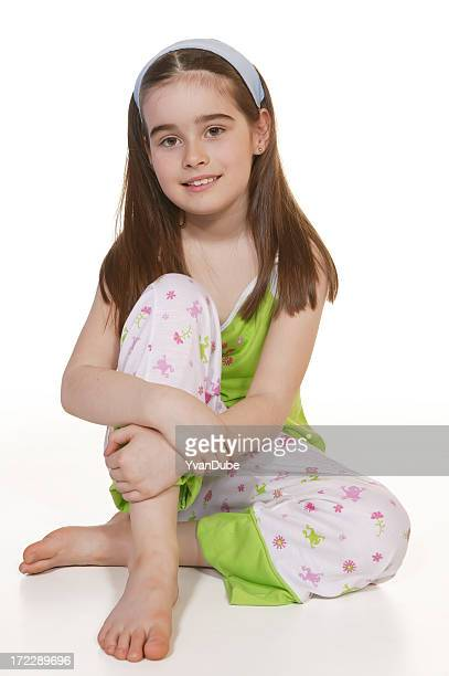 little girl in pyjamas - barefoot stock pictures, royalty-free photos & images