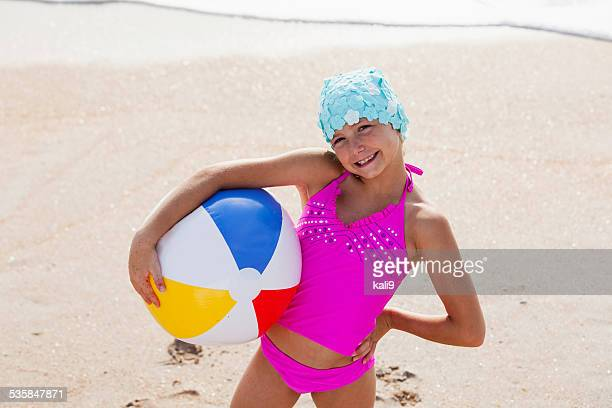 little girl in retro swim cap - kids swimsuit models stock pictures, royalty-free photos & images