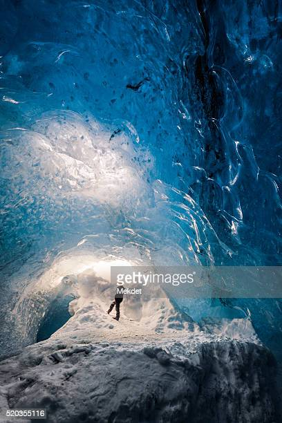 a little girl in skaftafell ice cave, iceland - skaftafell national park stock photos and pictures