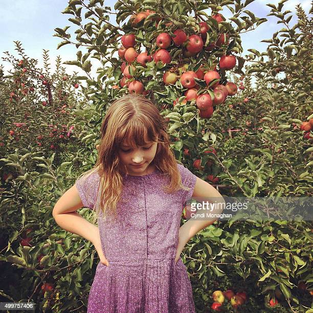 Little Girl in the Apple Orchard