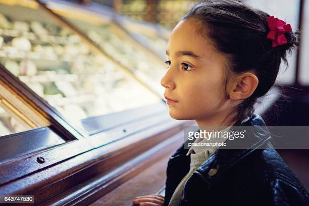 little girl is looking exhibition - history museum stock pictures, royalty-free photos & images