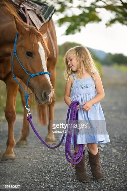 Little Girl Leading Big Horse, Cute Three Year Old