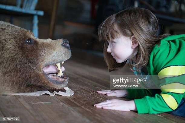 little girl looking at bear skin rug - bearskin rug imagens e fotografias de stock