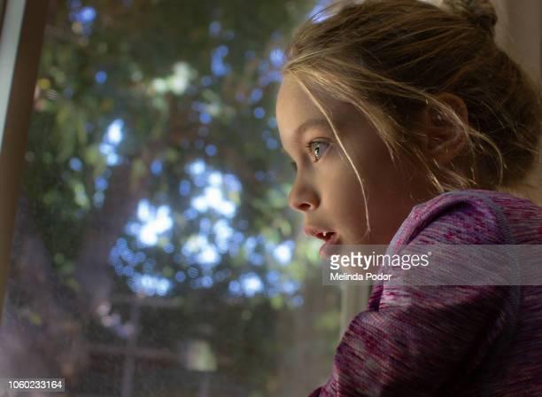 little girl looking out a window - petites filles photos et images de collection
