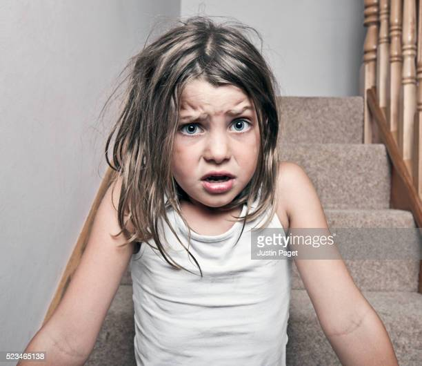 Little girl looking scared