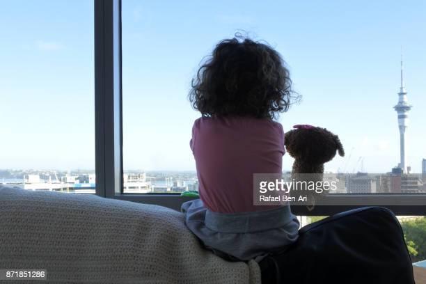 little girl looks out of apartment window - rafael ben ari stock-fotos und bilder