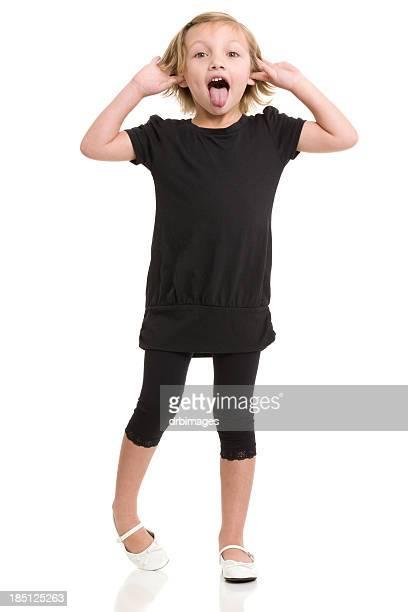 garotinha fazendo silly rosto - black pants - fotografias e filmes do acervo