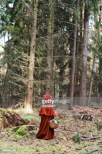 Little girl masquerade as Red Riding Hood standing in the wood