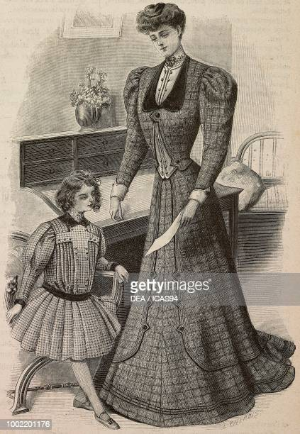 Little girl of 57 years in a checkered dress woman wearing a woolen house dress and a Drap waistcoat creation by Madame Blanche Limousin engraving...