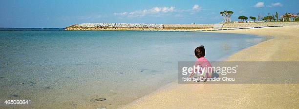 little girl on okinawa beach