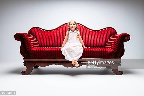 Little girl on sofa