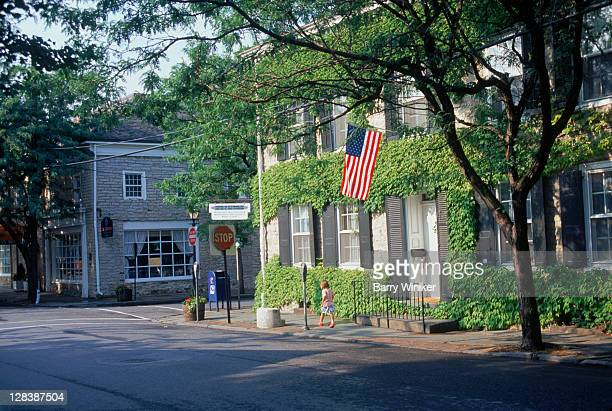 little girl on street, kingston, ny - charming stock pictures, royalty-free photos & images