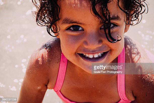 little girl on the beach - tunisia stock pictures, royalty-free photos & images