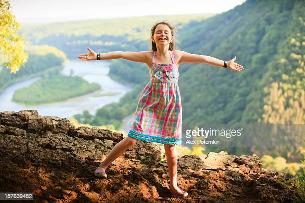 little girl on the delaware water gap - pocono stock pictures, royalty-free photos & images