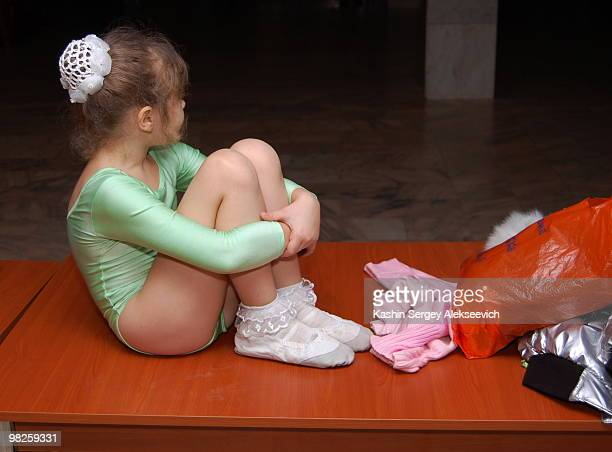 little girl on the table. - little russian girls stock photos and pictures
