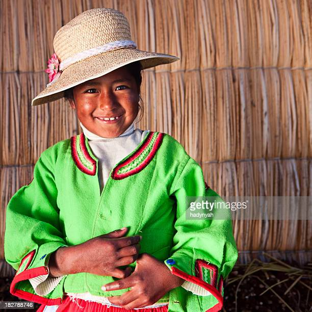 Little girl on Uros floating island