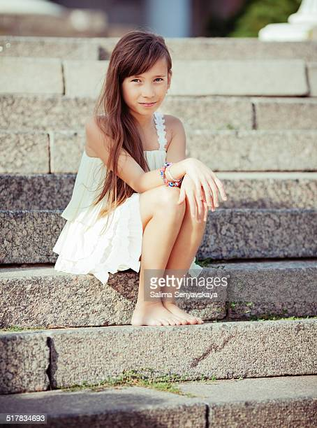 little girl outdoors - little russian girls stock photos and pictures