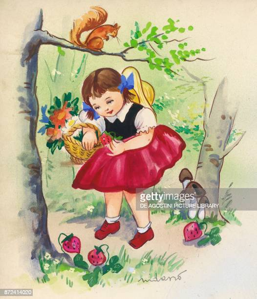 Little girl picking up strawberries in the woods children's illustration drawing