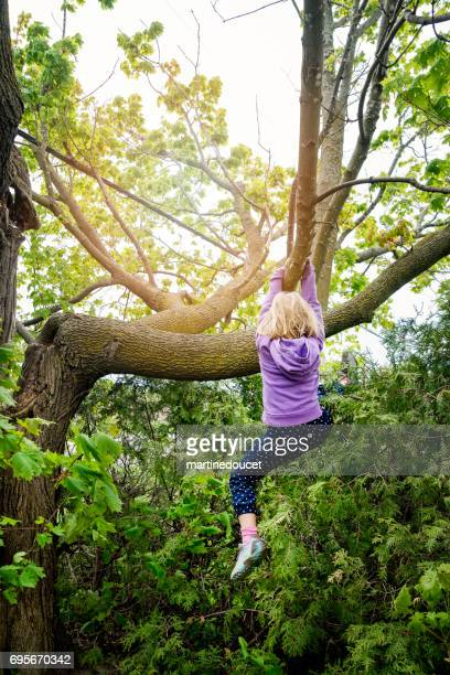 Little girl playing in very high tree in sprintime.
