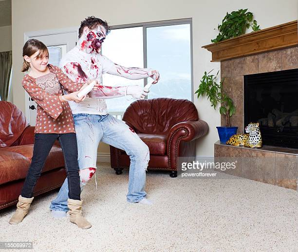 Little Girl Playing Video Games with Her Pet Zombie