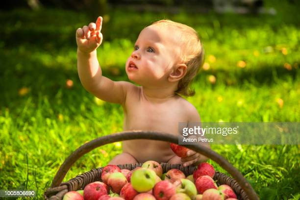 Little girl playing with a basket of apples in the garden