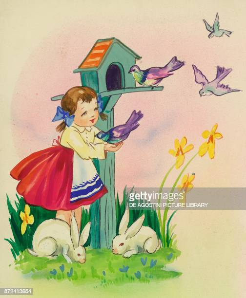 Little girl playing with little birds and rabbits children's illustration drawing