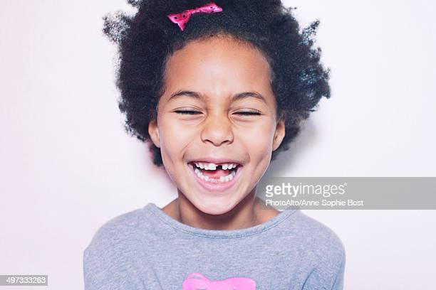 little girl, portrait - missing teeth stock photos and pictures