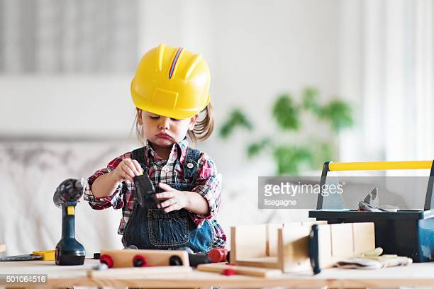little girl power - home improvement stock pictures, royalty-free photos & images