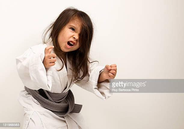 Little girl practicing judo
